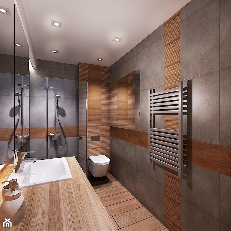 Mieszkanie Na Wynajem 1 średnia Brązowa Szara łazienka W