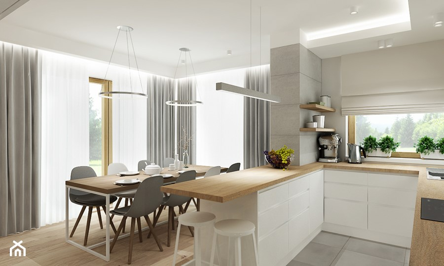 Projekt - Dom pod Krakowem w kolorze natury - Średnia biała szara kuchnia w kształcie litery u w aneksie z wyspą z oknem, styl nowoczesny - zdjęcie od All Design Agnieszka Lorenc