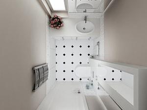 Projekt - Klasyczny dom pod Krakowem - Mała beżowa łazienka z oknem, styl klasyczny - zdjęcie od All Design Agnieszka Lorenc