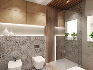 Projekt łazienki z drewnem - Średnia łazienka w bloku w domu jednorodzinnym z oknem, styl nowoczesny - zdjęcie od All Design Agnieszka Lorenc
