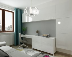 Mieszkanie na wynajem 2 PROJEKT - Średnie białe biuro kącik do pracy w pokoju, styl nowoczesny - zdjęcie od All Design Agnieszka Lorenc