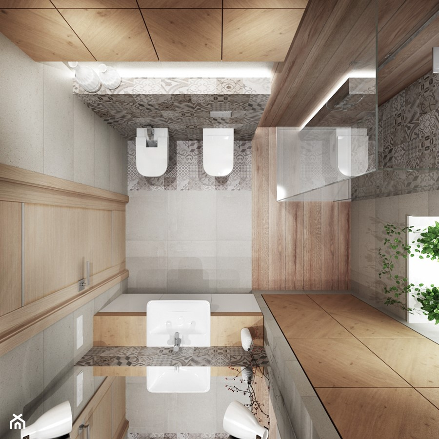 Projekt łazienki z drewnem - Mała łazienka w bloku w domu jednorodzinnym z oknem, styl nowoczesny - zdjęcie od All Design Agnieszka Lorenc