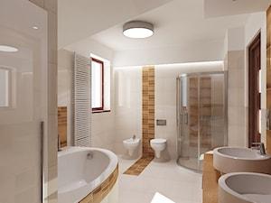 łazienka z drewnem - Duża łazienka w bloku w domu jednorodzinnym z oknem - zdjęcie od All Design Agnieszka Lorenc