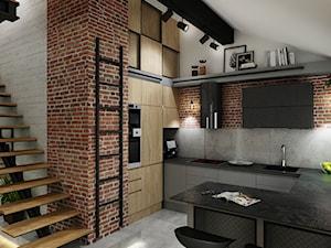 Industrialne mieszkanie na poddaszu - Średnia beżowa szara kuchnia w kształcie litery g w aneksie z wyspą, styl industrialny - zdjęcie od All Design Agnieszka Lorenc