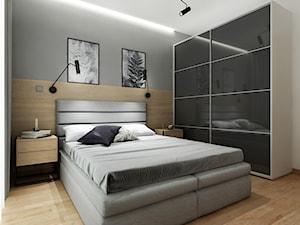 Mieszkanie 50 m2 Kraków - Średnia biała szara sypialnia małżeńska, styl skandynawski - zdjęcie od All Design Agnieszka Lorenc