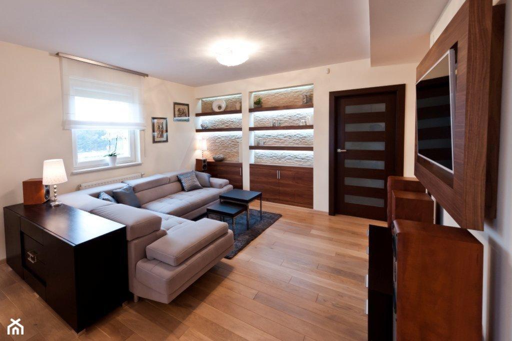 Mieszkanie Kraków realizacja - Mały szary salon, styl minimalistyczny - zdjęcie od All Design Agnieszka Lorenc - Homebook
