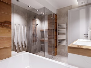 łazienka z nuta szarosci i drewna. - Średnia szara łazienka jako salon kąpielowy bez okna, styl nowoczesny - zdjęcie od All Design Agnieszka Lorenc