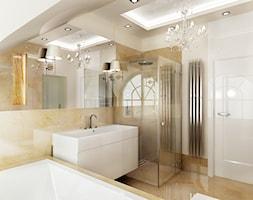 Marmurowa łazienka - Duża beżowa łazienka w domu jednorodzinnym z oknem, styl klasyczny - zdjęcie od All Design Agnieszka Lorenc