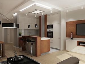 Mieszkanie na wynajem 2 - Mała otwarta biała szara kuchnia w kształcie litery l w aneksie z wyspą, styl nowoczesny - zdjęcie od All Design Agnieszka Lorenc