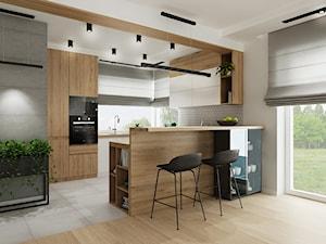 Dom Olkusz - Średnia otwarta szara kuchnia w kształcie litery g z oknem, styl industrialny - zdjęcie od All Design Agnieszka Lorenc