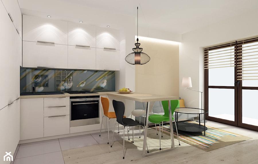 Kawalerka ptojekt - Średnia otwarta biała beżowa kuchnia w kształcie litery u w aneksie z oknem, styl nowoczesny - zdjęcie od All Design Agnieszka Lorenc