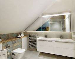 Projekt - Dom pod Krakowem w kolorze natury - Średnia łazienka na poddaszu w domu jednorodzinnym bez okna, styl nowoczesny - zdjęcie od All Design Agnieszka Lorenc