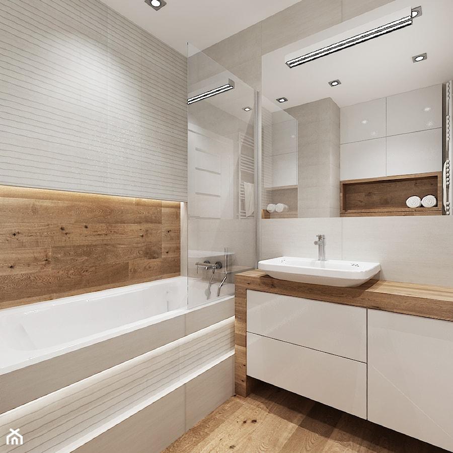 Mieszkanie w bieli i cegłą w tle - Średnia beżowa brązowa szara łazienka w bloku bez okna, styl nowoczesny - zdjęcie od All Design Agnieszka Lorenc