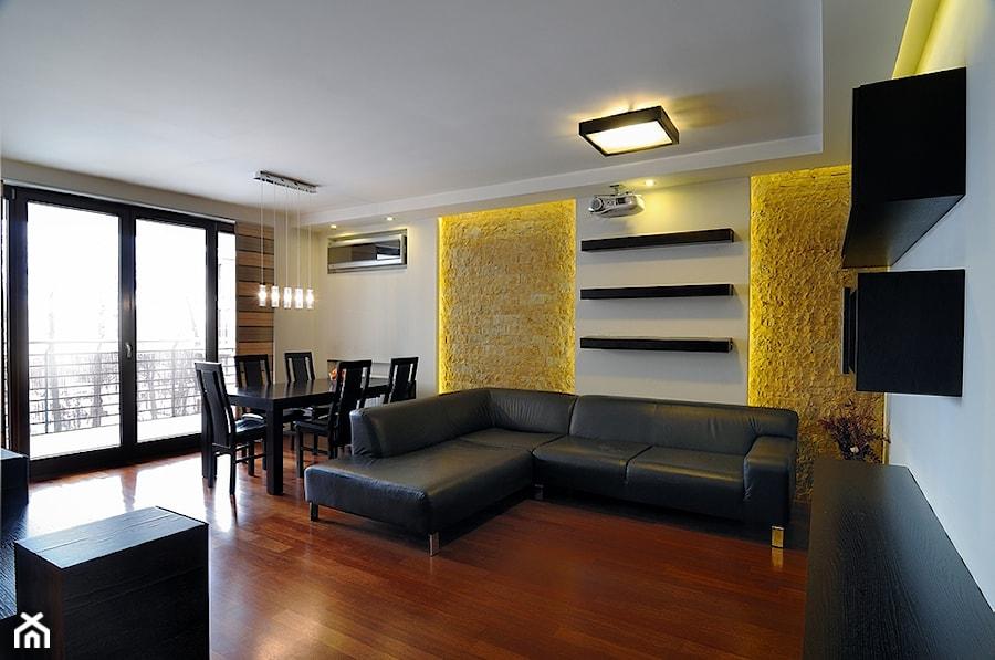 Mieszkanie 2 Kraków - Średni biały żółty salon z jadalnią, styl nowoczesny - zdjęcie od All Design Agnieszka Lorenc