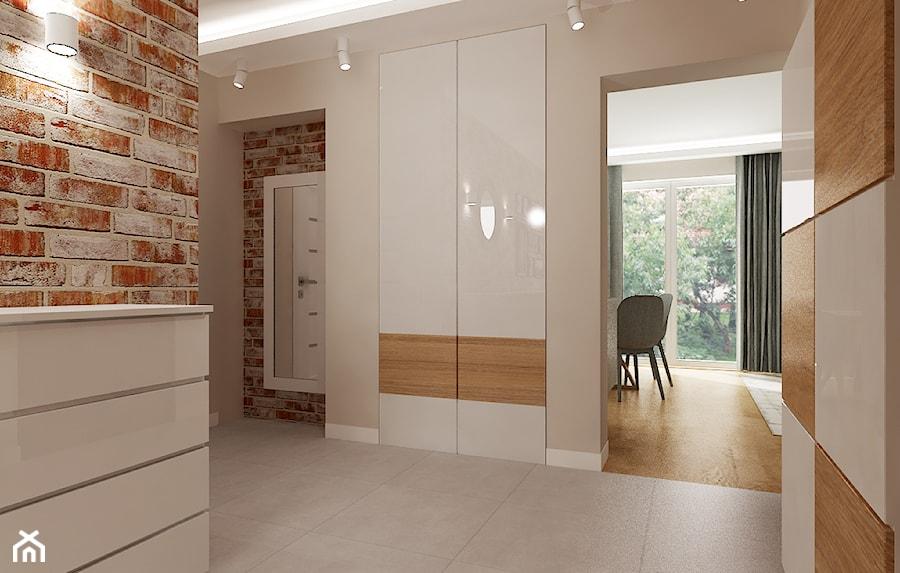 Mieszkanie w bieli i cegłą w tle - Hol / przedpokój, styl skandynawski - zdjęcie od All Design Agnieszka Lorenc