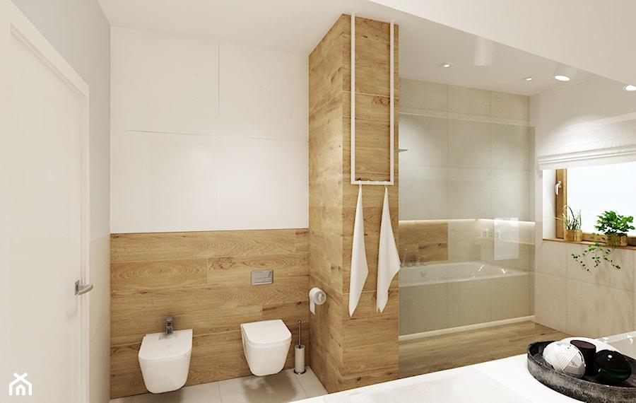 Projekt - Dom pod Krakowem w kolorze natury - Średnia szara łazienka na poddaszu w domu jednorodzinnym z oknem, styl nowoczesny - zdjęcie od All Design Agnieszka Lorenc