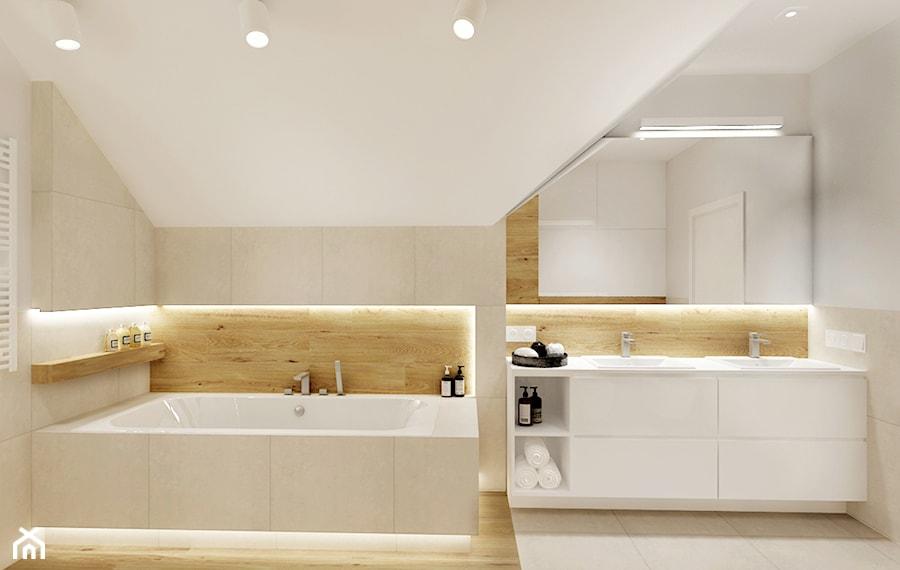 Projekt - Dom pod Krakowem w kolorze natury - Średnia biała łazienka na poddaszu w domu jednorodzinnym bez okna, styl nowoczesny - zdjęcie od All Design Agnieszka Lorenc