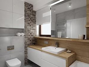 Mała łazienka z szarą cegła - Średnia szara łazienka z oknem, styl nowoczesny - zdjęcie od All Design Agnieszka Lorenc