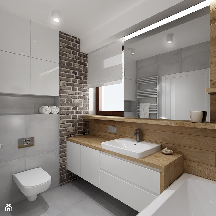 Mała łazienka z szarą cegła - Średnia łazienka z oknem, styl nowoczesny - zdjęcie od All Design ...