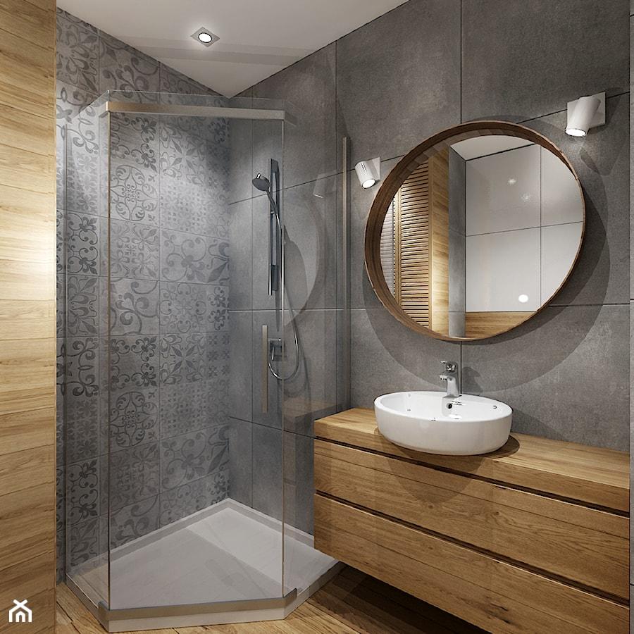 Mała łazienka 1 Mała Szara łazienka W Bloku Bez Okna Styl