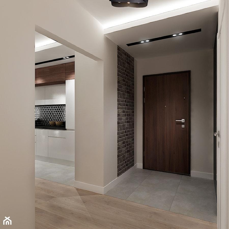 Mieszkanie na wynajem 2 PROJEKT - Mały beżowy hol / przedpokój, styl nowoczesny - zdjęcie od All Design Agnieszka Lorenc