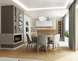 Mieszkanie w bieli i cegłą w tle - Średnia otwarta biała szara jadalnia w kuchni, styl nowoczesny - zdjęcie od All Design Agnieszka Lorenc