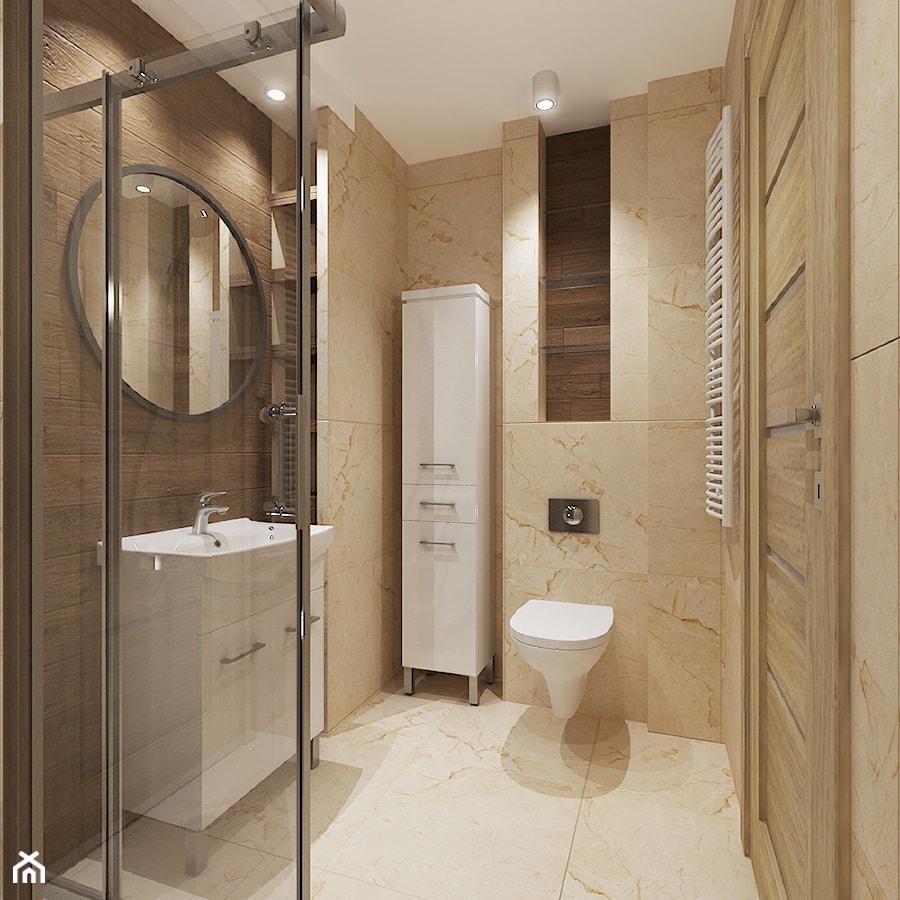 Mieszkanie Kraków - Mała beżowa łazienka w bloku bez okna, styl tradycyjny - zdjęcie od All Design Agnieszka Lorenc