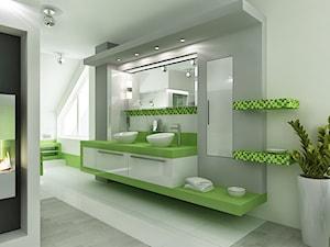 sypialnia z łazienka w zieleni