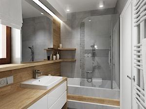 Mała łazienka z szarą cegła - Mała beżowa szara łazienka z oknem, styl nowoczesny - zdjęcie od All Design Agnieszka Lorenc