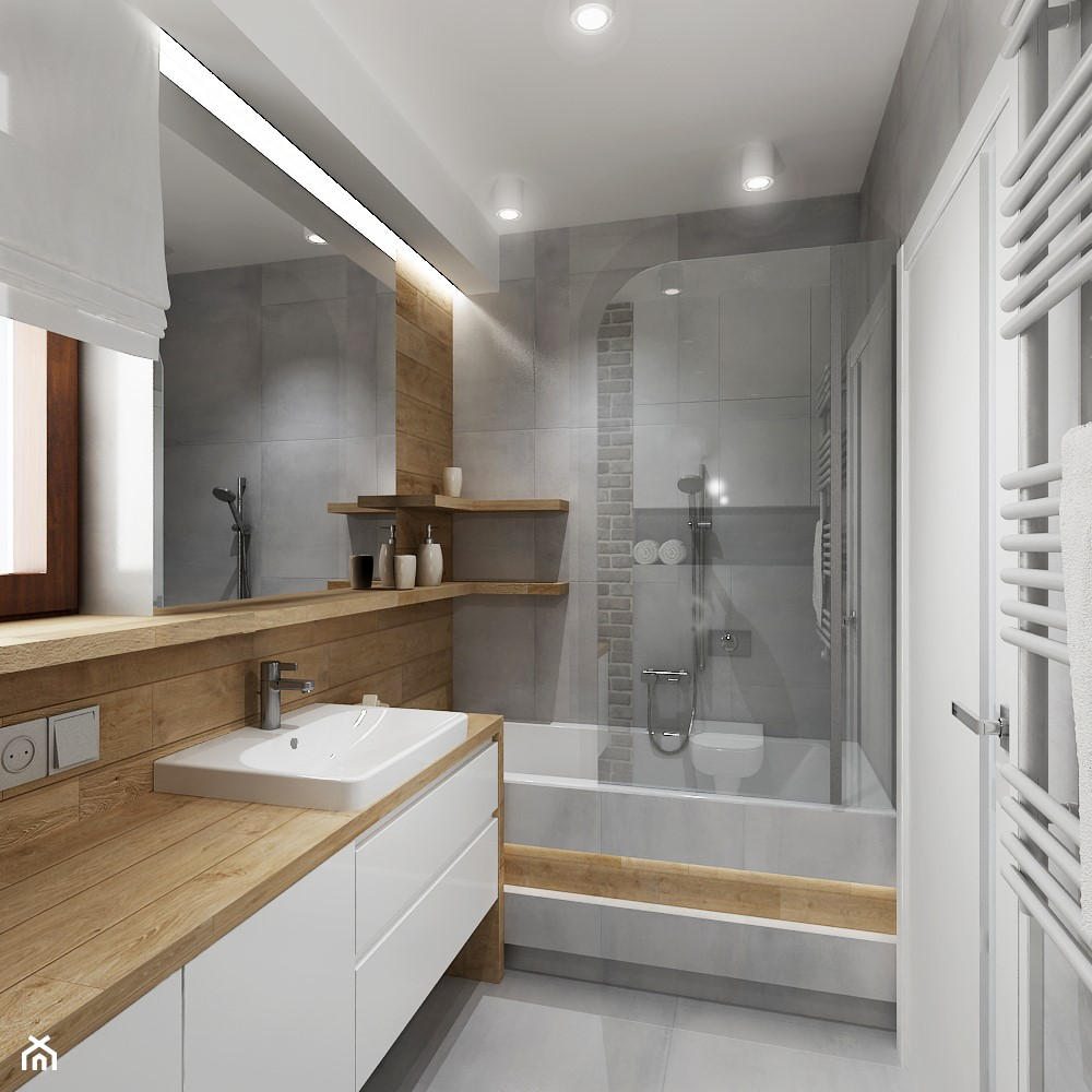 Mała łazienka z szarą cegła - Mała beżowa szara łazienka z oknem, styl nowoczesny - zdjęcie od All Design Agnieszka Lorenc - Homebook