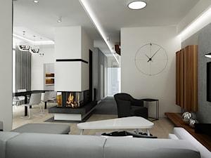 Projekt dom pod Warszawą - Średni biały salon z jadalnią, styl minimalistyczny - zdjęcie od All Design Agnieszka Lorenc