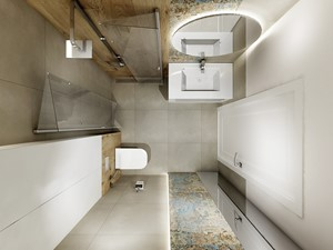Projekt - Dom pod Krakowem w kolorze natury - Mała biała łazienka w bloku w domu jednorodzinnym bez okna, styl nowoczesny - zdjęcie od All Design Agnieszka Lorenc