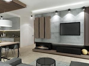 Mieszkanie w Bydgoszczy - Średni szary biały salon z kuchnią z jadalnią, styl nowoczesny - zdjęcie od All Design Agnieszka Lorenc