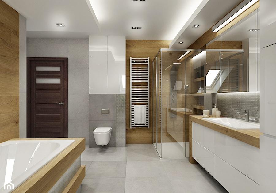 Łazienka na poddaszu - szaroście i drewno - Duża biała łazienka w bloku w domu jednorodzinnym bez okna, styl nowoczesny - zdjęcie od All Design Agnieszka Lorenc