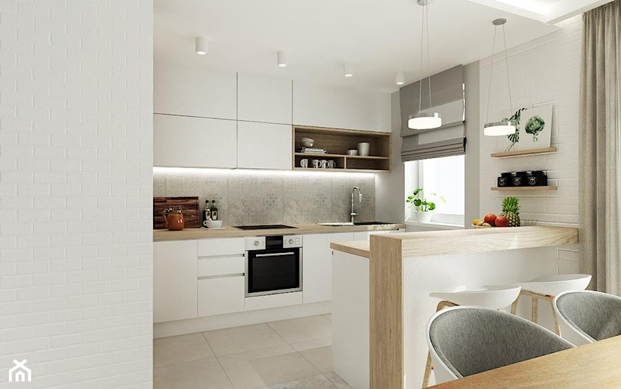 Mieszkanie w pastelach - Średnia biała szara kuchnia dwurzędowa w aneksie z wyspą z oknem, styl skandynawski - zdjęcie od All Design Agnieszka Lorenc