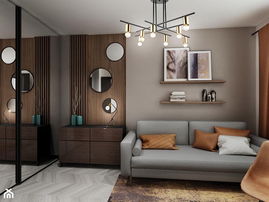 Mieszkanie z kolorem koniaku - Średnie beżowe szare biuro domowe w pokoju, styl tradycyjny - zdjęcie od All Design Agnieszka Lorenc