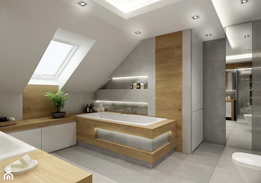 Łazienka na poddaszu - szaroście i drewno - Średnia biała ...