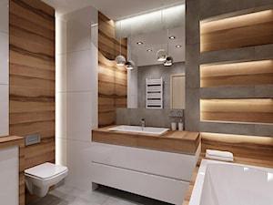 łazienka drewno plus szarość