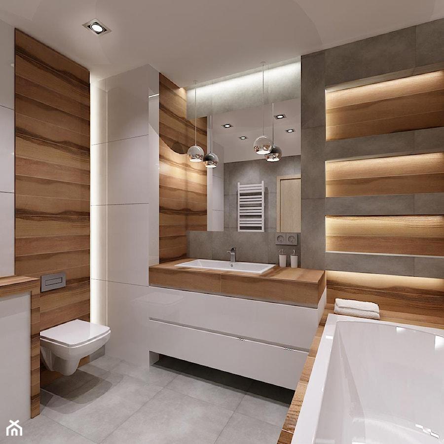 azienka drewno plus szaro azienka styl nowoczesny zdj cie od all design agnieszka. Black Bedroom Furniture Sets. Home Design Ideas