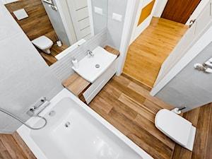 Realizacja projektu mieszkanie dwupiziomowe w Krakwie - Mała łazienka w bloku w domu jednorodzinnym bez okna, styl nowoczesny - zdjęcie od All Design Agnieszka Lorenc