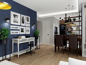Mieszkanie z granatem - Średni szary niebieski salon z jadalnią, styl nowoczesny - zdjęcie od All Design Agnieszka Lorenc