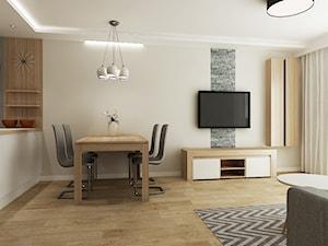 Mieszkanie Kraków - Średni beżowy salon z jadalnią z tarasem / balkonem, styl tradycyjny - zdjęcie od All Design Agnieszka Lorenc