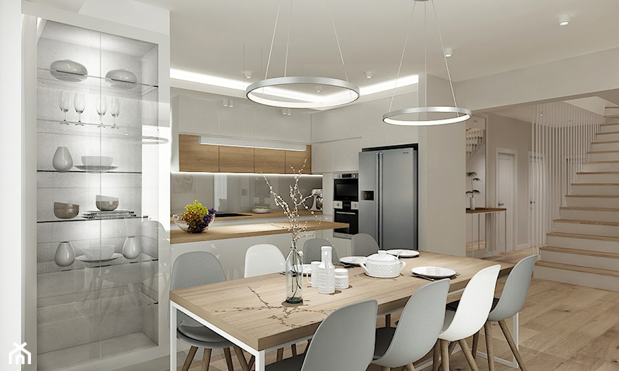 Projekt - Dom pod Krakowem w kolorze natury - Średnia otwarta beżowa jadalnia w kuchni, styl nowoczesny - zdjęcie od All Design Agnieszka Lorenc