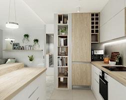 Mieszkanie w pastelach - Średnia beżowa kuchnia w kształcie litery g w aneksie z wyspą, styl skandynawski - zdjęcie od All Design Agnieszka Lorenc