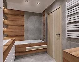 łazienka drewno plus szarość - Łazienka, styl nowoczesny - zdjęcie od All Design Agnieszka Lorenc