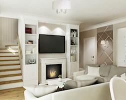 Projekt - Klasyczny dom pod Krakowem - Średni beżowy salon z kuchnią z jadalnią, styl klasyczny - zdjęcie od All Design Agnieszka Lorenc