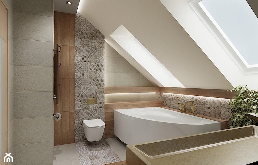 Łazienka ze skosami - Średnia biała łazienka na poddaszu z oknem, styl nowoczesny - zdjęcie od All Design Agnieszka Lorenc