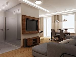 Projekt mieszkanie brąz i szarość