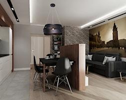 Mieszkanie na wynajem 2 PROJEKT - Mała otwarta biała szara jadalnia w kuchni w salonie, styl nowoczesny - zdjęcie od All Design Agnieszka Lorenc