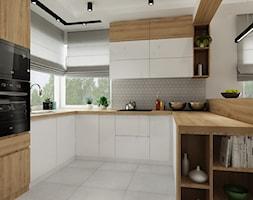 Dom Olkusz - Średnia otwarta szara kuchnia w kształcie litery u z oknem, styl industrialny - zdjęcie od All Design Agnieszka Lorenc